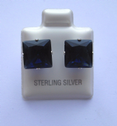 9mm square Princess cut Blue Sapphire Cubic Zirconia Sterling silver Stud earrings